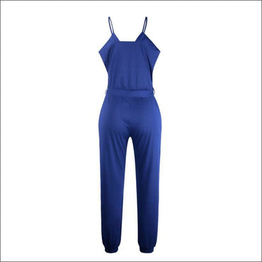 Spaghetti Strap Pure Color Jumpsuits - M / Royal Blue -