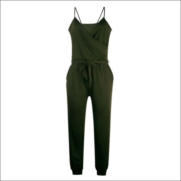 Spaghetti Strap Pure Color Jumpsuits - S / Army Green -