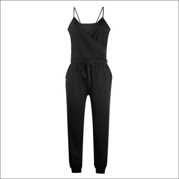 Spaghetti Strap Pure Color Jumpsuits - S / Black - Jumpsuits
