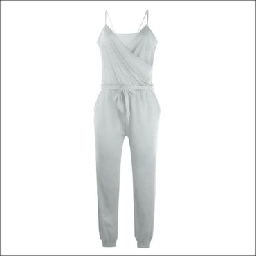 Spaghetti Strap Pure Color Jumpsuits - S / Grey - Jumpsuits
