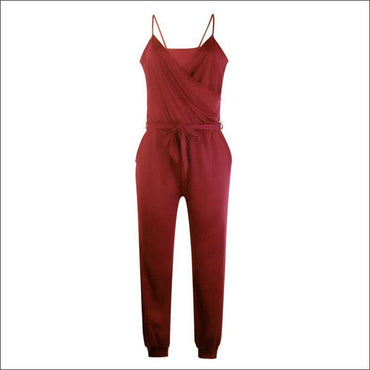 Spaghetti Strap Pure Color Jumpsuits - S / Red - Jumpsuits
