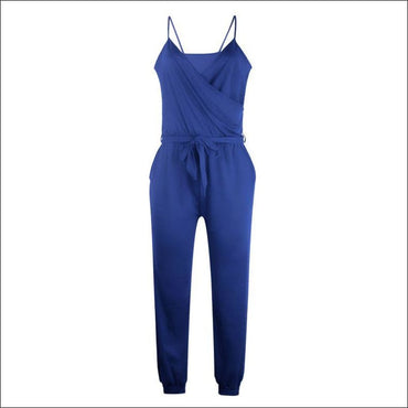 Spaghetti Strap Pure Color Jumpsuits - S / Royal Blue -
