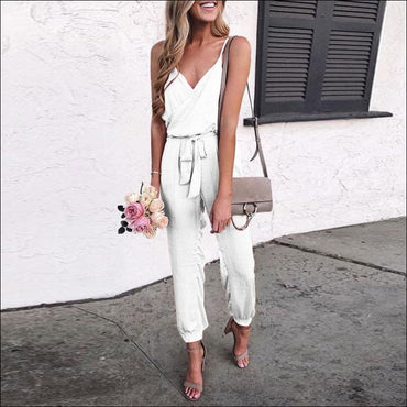 Spaghetti Strap Pure Color Jumpsuits - S / White - Jumpsuits