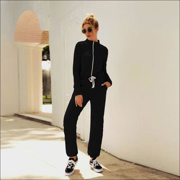 Stand Collar Zipper Long Sleeve Lace-up Casual Jumpsuits - L