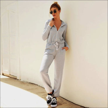 Stand Collar Zipper Long Sleeve Lace-up Casual Jumpsuits - M