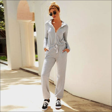 Stand Collar Zipper Long Sleeve Lace-up Casual Jumpsuits - S