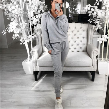 Stand Collar Zipper Long-sleeve Top And Casual Pants370x