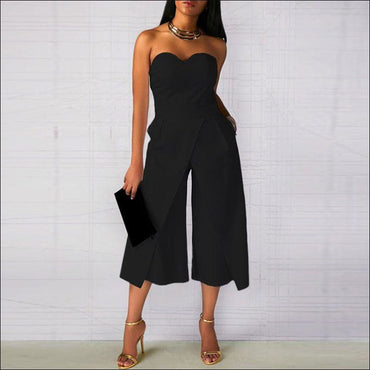 Strapless Plain Color Overlap Cropped Jumpsuits370x