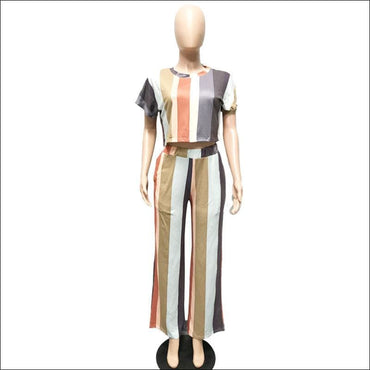 Stripe Tee And Straight Pants Two Pieces Sets Fashion Round Collar370x
