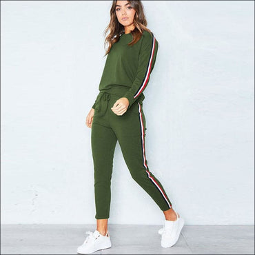 Stripes Pattern Autumn Winter Fleece Lined Sports Wear Set370x