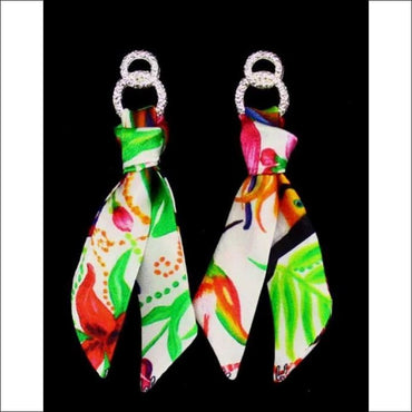 Tropical garden silk tie earring - Gold - Earrings
