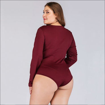 Unique Rib Knit Pattern Long Sleeve Plus Size Zipper Bodysuits370x