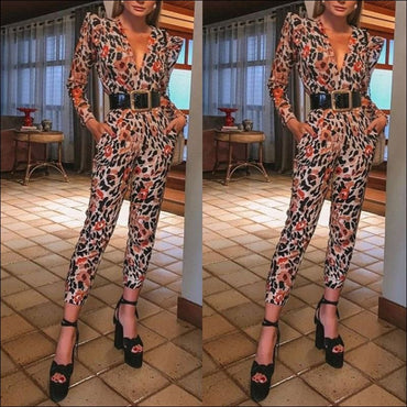 V-neck Long Sleeve Print Jumpsuits - Jumpsuits