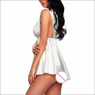 V-neck Solid Color Lace Nightdress - M / White - Lingerie &