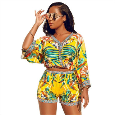 Vacation Leaf Printed V Neck Boho Style Two-piece Set - S /
