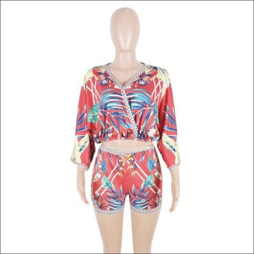 Vacation Leaf Printed V Neck Boho Style Two-piece Set - Sets