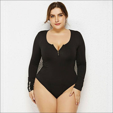 Zipper Design Round Neck Long-sleeve Plus-size Bodysuits -