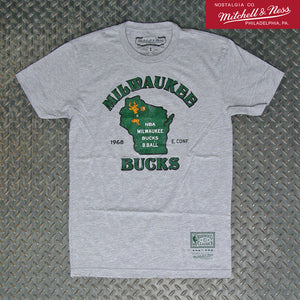 Mitchell & Ness Milwaukee Bucks NBA State T-Shirt BMTRTP19156-MBUGYHT