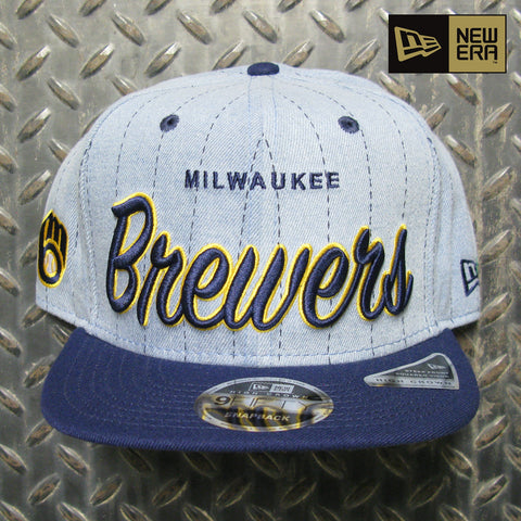 New Era Milwaukee Brewers Denim Hit B1 9FIFTY Snapback Hat 80831652