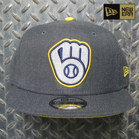 New Era Milwaukee Brewers Heather B1 9FIFTY Snapback Hat 80829078