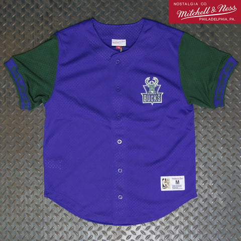Mitchell & Ness Milwaukee Bucks Pure Shooter Mesh Button Front Jersey MSBFAJ19017-MBUPURP