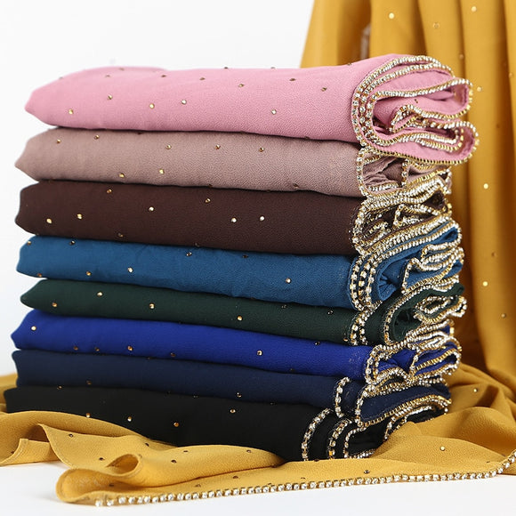 Diamond Shawl Head Scarf Female Headscarf Hijab Muslim ladies scarf New High Quality Pearl Chiffon Veil Niqab Hijabs Headscarf