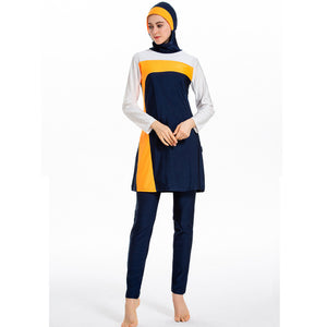Full Cover Burkini Muslim Swimwear Women's Swimming suit Color Matching Conservative Swimsuit Women Islamic Hijab Beachwear Suit