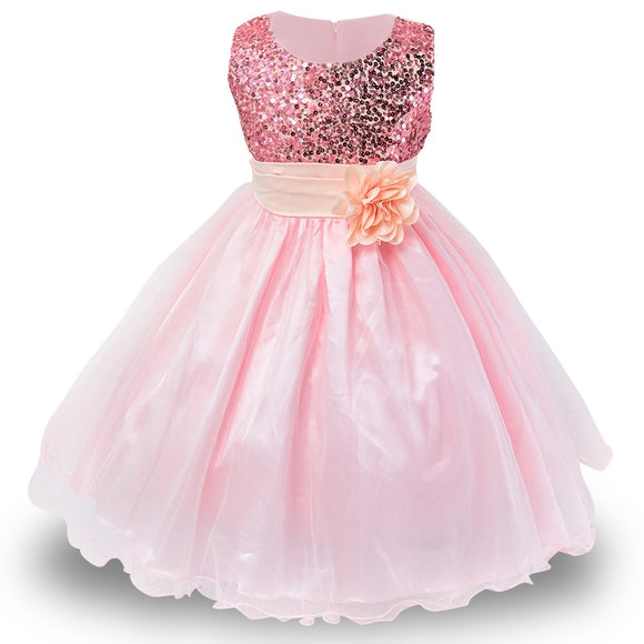 3-10 years Girls Dress Summer Baby Girls Flower sequins Dress High quality Party Princess Dress Kids Cotton Party girls Clothing