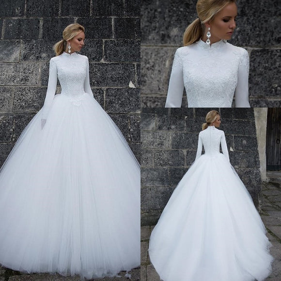 White Muslim Wedding Dresses 2019 Ball Gown High Neck Long Sleeves Bridal Gown Vestido de Novia Saudi Arabic mariage