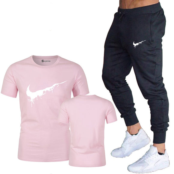 Summer new ladies T-shirt + pants two-piece casual sports ladies gym fitness trousers 2019 ladies classic brand