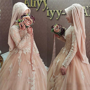 Graceful Tulle High Collar Neckline Ball Gown Arabic Islamic Wedding Dresses With Beaded Lace Appliques Muslim Bridal Gowns
