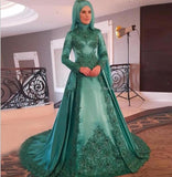 Green Vestido De Noiva 2019 Muslim Wedding Dresses A-line Long Sleeves Applique Beaded Dubai Arabic Wedding Gown Bridal Dresses