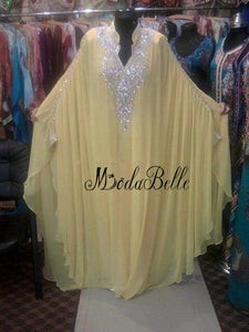 modabelle Yellow Arabic Evening Dress Plus Size Abendkleider Lange Kristall V-neck Chiffon Long Sleeve Muslim Long Evening Gowns