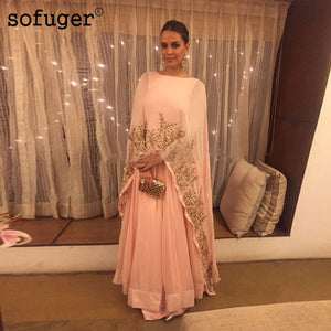 Peach Pink Muslim Evening Dresses Golden Lace Appliques Chiffon Plus Size Saudi Arabic Formal Evening Special Occasion Women
