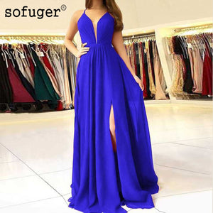 Long Royal Blue Chiffon V Neck Robe De Soiree Evening Dresses High Slit Plus Size Arabic Muslim Special Occasion Custom Made