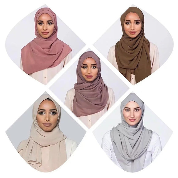 #41-49 Wholesale Price Chiffon Hijab For Women Traditional Islamic Clothing Simple Comfortable Scarf Malay Arabic Free Shipping
