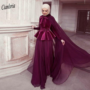 Burgundy Velvet Arabic Muslim Evening Dress With Cape High Neck Long Sleeve Chiffon Saudi Dubai Formal Evening Party Dresses