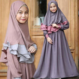 Girls Abaya Muslim Dress Islamic Clothing Long Sleeve Arab Solid Traditional Arabic Kids Turkish Party Dresses Hijabs Set