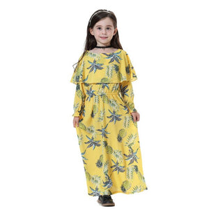 2019 Muslim abaya dress for kids floral printed cute islamic clothes girls indonesia abaya malaysia long sleeve
