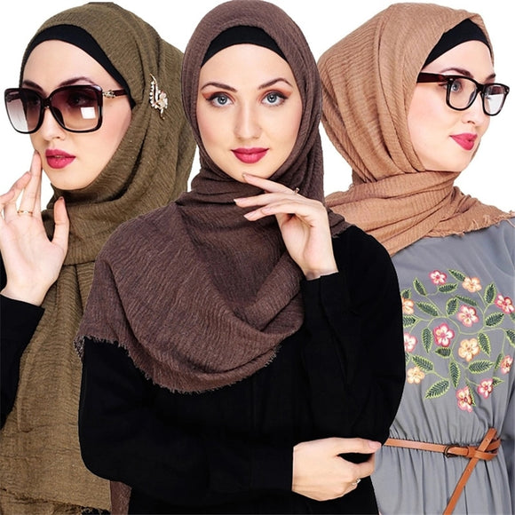 180*100CM Women Crinkled Hijab Cotton Muslim Headscarf Islamic Turkish Turban foulard femme musulman Instant Scarf Shawl Wrap