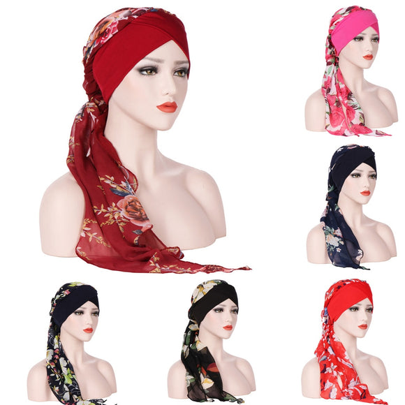 Scarfs For Ladies Muslim Scarves Casual Scarf Women Summer Flower Women Muslim Chemo Hat Hijab Scarf Turban Cap Wrap W417