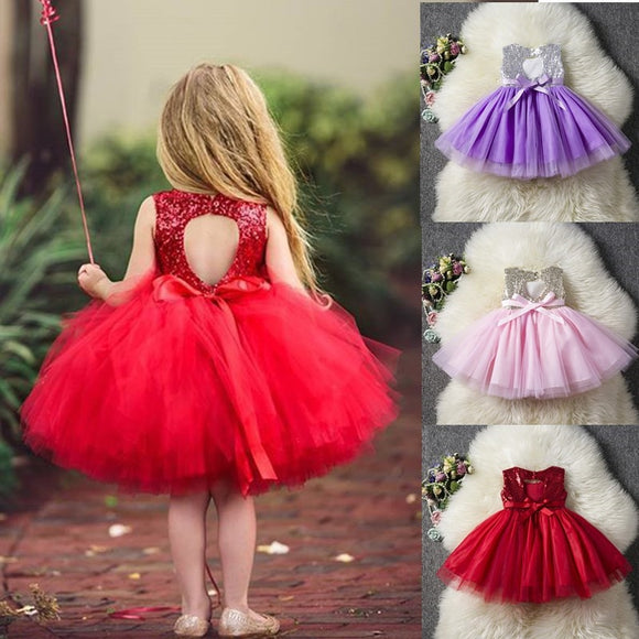 Princess Kids Baby Fancy Wedding Dress Sequins Formal Party Dress For Girl Tutu Kids Clothes Children Backless Designs Dresses