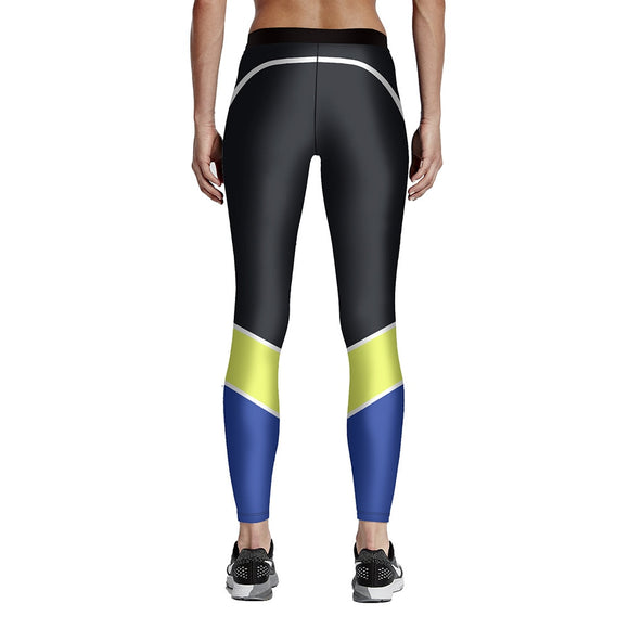 Women Black Blue Yellow Patchwork Fitness Leggings High Waist Elastic Fiber Aerobic Exercise Workout Pants Full Size S-4XL