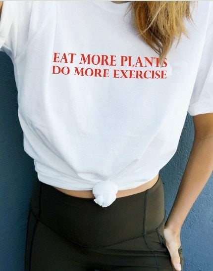 Kuakuayu HJN Eat More Vegetables Plants and Do More Exercise Women Keep Fit T Shirt Work Out Tees for Summer Vegan Tops