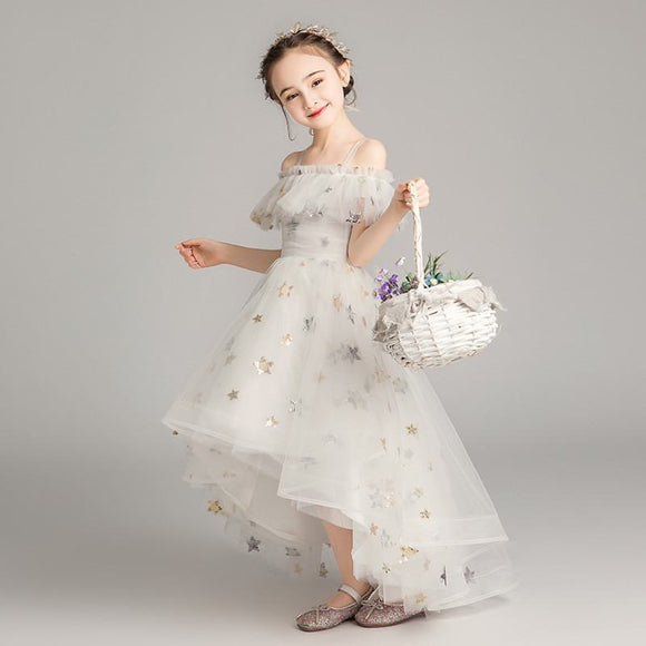 2019 Kids Girls Princess Baptism Birthday Tulle Dress Teenage Sequins Long Wedding Gowns Trailing Dress Children Clothing D01