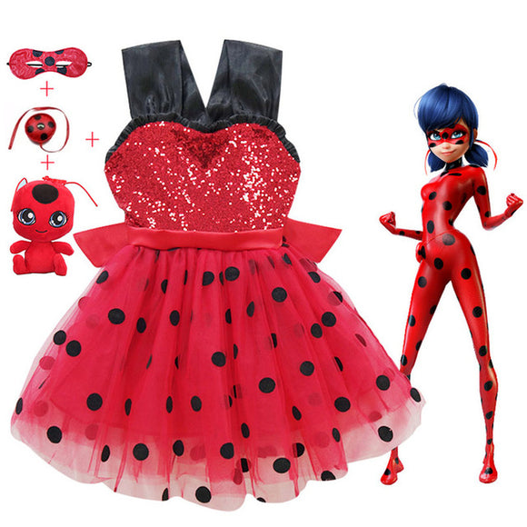 Summer Lady Bug Red Dot birthday Party Dress toys masks Costume Kids Girls Clothes 2019 Ladybug Halloween Cosplay Dress