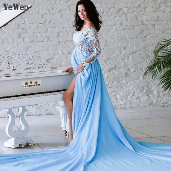 1M Train YeWen A Line Evening Dresses With Slit V Neck Long Prom Dresses 2019 Sexy Party Gowns Vestido De Festa Bride dress