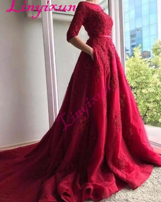 2018 Dark Red Lace Half Sleeves Evening Dress with Pocket Cover Back Sweep Train Long Bride Party Gown Formal Prom Dresses