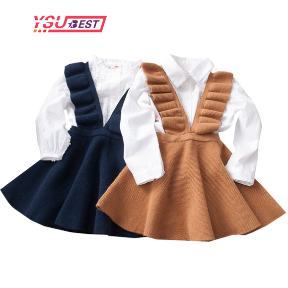 2-8Yrs Autumn Baby Girls Dress Fashion Girl Clothing Knit Sweater Kids Dresses for Girls Solid Sleeveless School Uniform Vestido