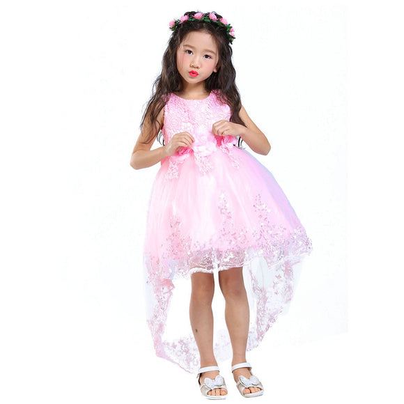 2017 Flower Girl Dress Children Red Mesh Trailing Butterfly Girls Wedding Dress Kids Ball Gown Embroidered Bow Party Dress